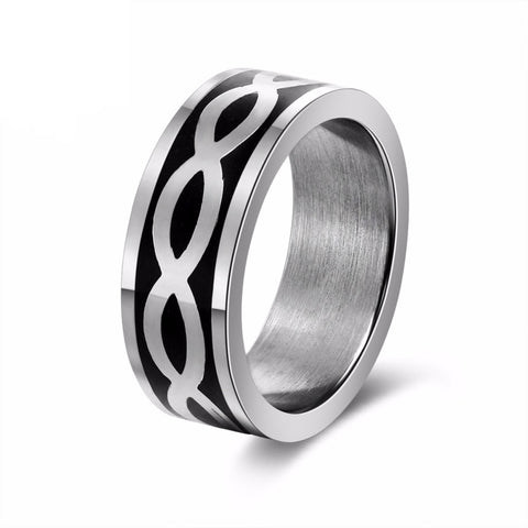 Silver & Black Stainless Steel Ring