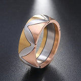 Unique Design Triple Color 316L Stainless Steel Ring - seraie