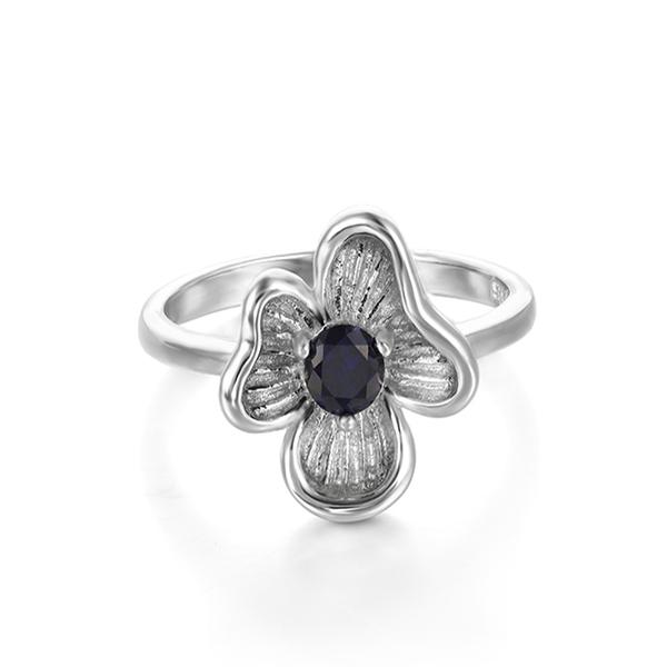 0.34 ct Created Blue Sapphire Silver Ring - Arista Gems