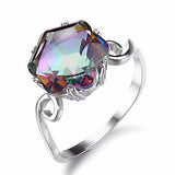 3.2ct Genuine Rainbow Fire Mystic Topaz Silver Ring - Arista Gems