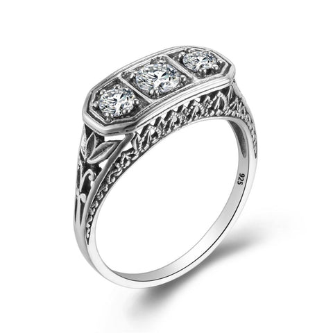 Pure 925 Sterling Silver Ring 3 Precious Stone CZ Vintage Ring - seraie