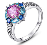 Women's 18k White gold Topaz and Sapphire Ring - Arista Gems