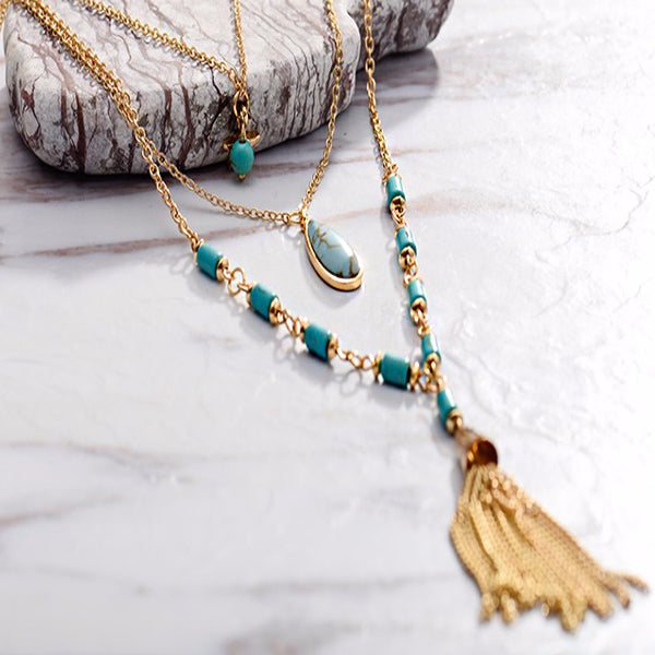 Bohemian Long Multi Layered Chain Necklace - Arista Gems