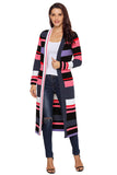 Multi color Striped Color block Open Front Long Cardigan - Arista Gems