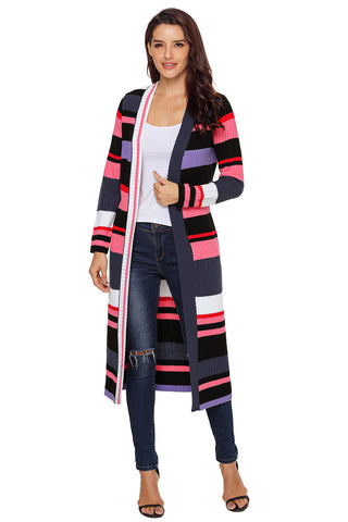Multi color Striped Color block Open Front Long Cardigan