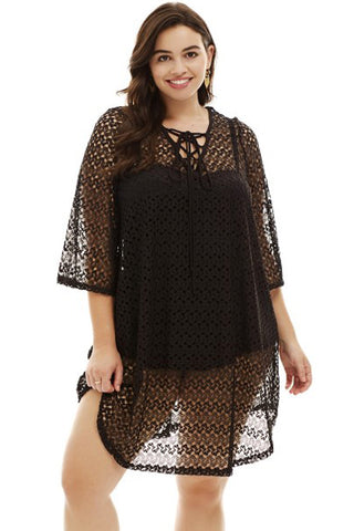 Black Crochet Lace up Beach Cover Up