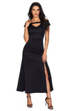 Black Front Slit Flare Maxi Dress - Arista Gems