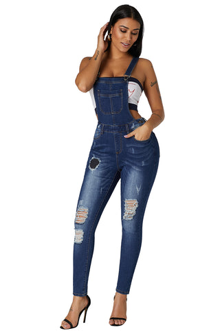 Dark Blue Wash Distressed Skinny Denim Overall - Arista Gems