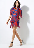 Red and Blue tassel Striped V Collar Dress - Arista Gems