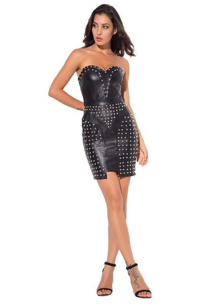 Sexy Bead Decorated Artificial Leather Wrapped Dress - Arista Gems