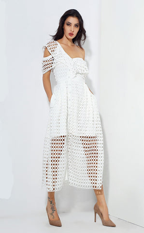 White Round Lace Single Shoulder Dress - Arista Gems