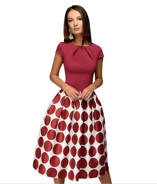 Round Neck Polka Fit & Flare Polka Dot Dress - Arista Gems