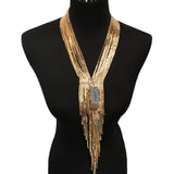 Boho Multi-layers Snake Chain Long Necklace - Arista Gems
