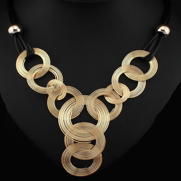 Black Chain Weave Circle Metal Wire Choker - Arista Gems