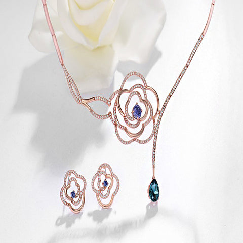Rose Gold Color AAA Zircon Flower Jewelry Set - Arista Gems