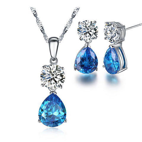 Ocean Blue Water Drop Cubic Zirconia Jewelry Set - Arista Gems