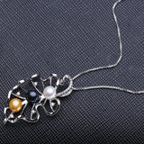 925 Sterling Silver Three Pearls Bead Necklace - Arista Gems