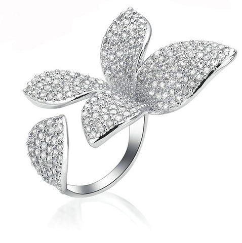 Austrian Crystals Flower Ring - Arista Gems