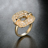 Rose Gold Color Mesh Austrian Crystal Ring - seraie