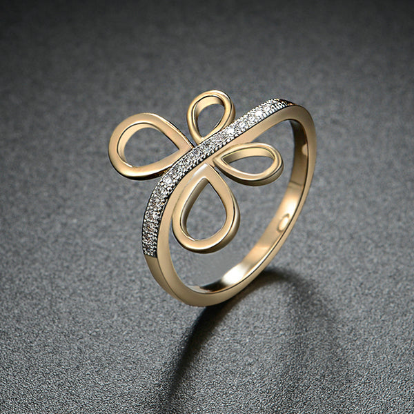 Gold Colour Bowknot Ring - Arista Gems