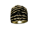 Gold Silver Color Chunky Stripes Ring - Arista Gems