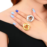 Geometric Gold Circles Surround Cross Ring - Arista Gems