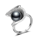 Retro Silver And Black Pearl Ring - Arista Gems