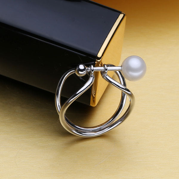 White Natural Freshwater Pearl Adjustable 925 sterling Silver ring - Arista Gems