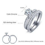 Classic 6.5mm Round Cubic Zirconia Silver Ring Sets - Arista Gems