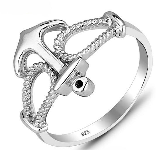 Genuine 925 Sterling Silver Anchor Ring - Arista Gems