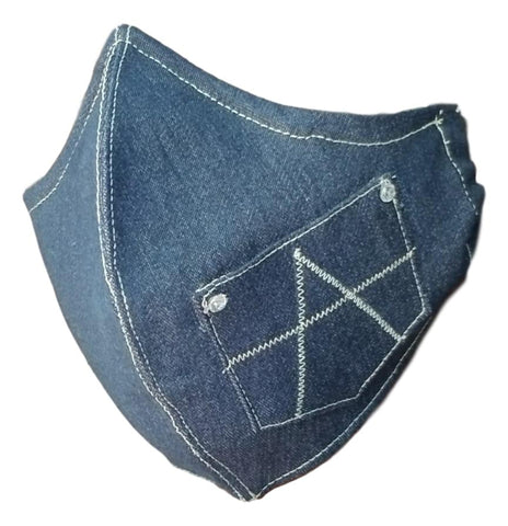 RockStar-Blue Denim/Organic Cotton Protective Reusable Face Mask With Open Pocket