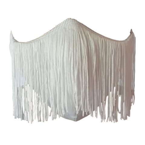 White Fringe Protective Face Cover