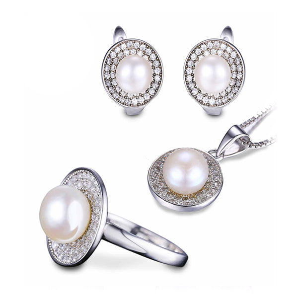 Freshwater Pearl Ring, Earring & Pendant Jewelry Set - Arista Gems