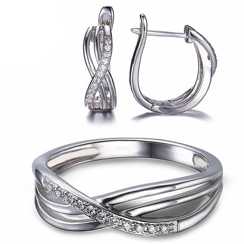 Solid 925 Sterling Silver Infinity Knot Jewelry Set - Arista Gems