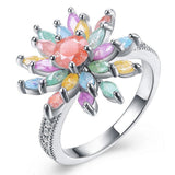 Spring Flower Glitter Effect Zircon Ring - seraie