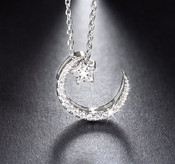 Sterling Silver Moon Star Pendant Necklace - Arista Gems