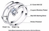 Womens Silver Cubic Zirconia Engagement Adjustable Ring Set - Arista Gems