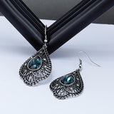 Blue Crystal Vintage Style Drop Earrings - Arista Gems