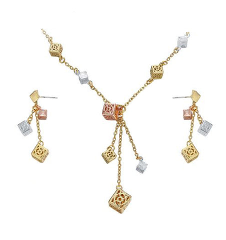 Hollow Cubes Chain Necklaces Earrings Set - Arista Gems