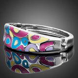 Platinum Plated Multi colour Enamel Bangle Bracelet  - seraie