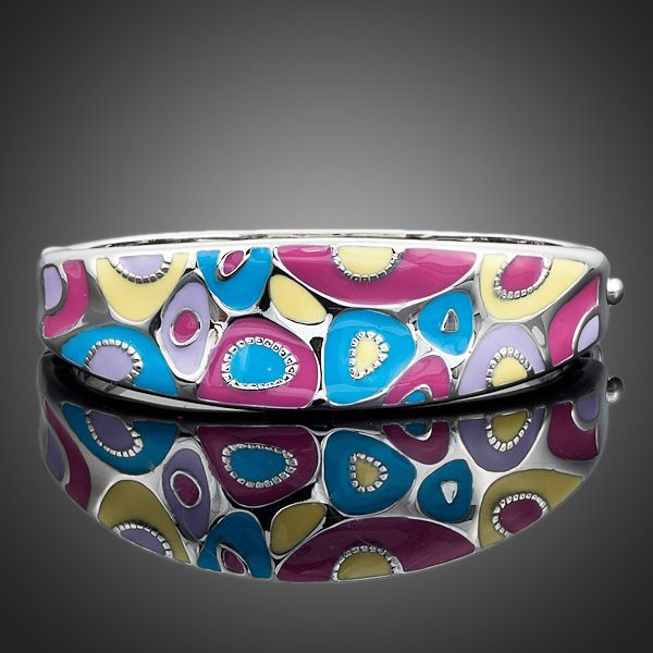 Platinum Plated Multi colour Enamel Bangle Bracelet  - Arista Gems