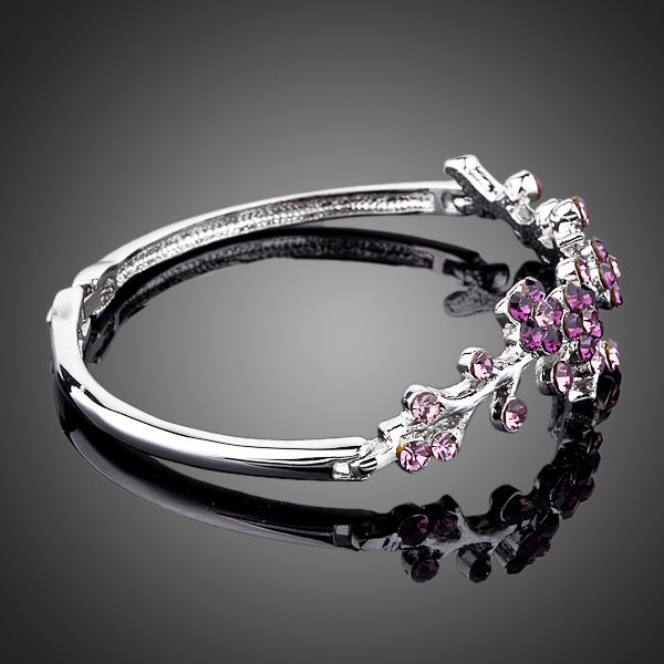 The Purple Blossom Platinum Plated Austrian Crystal Bracelet  - Arista Gems