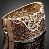 18K Real Gold Plated Austrian Crystals Paved Cuff Bracelet - Arista Gems