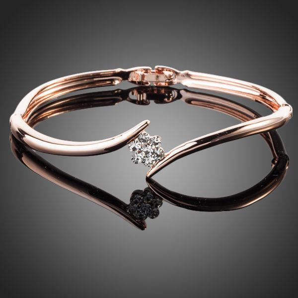 Rose Gold Color Austrian Crystal Rose Elegant Bangle - Arista Gems