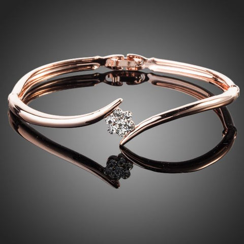 Rose Gold Color Austrian Crystal Rose Elegant Bangle - seraie