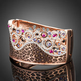 Captivating 18K Rose Gold Plated Crystals Cuff Bangle - Arista Gems