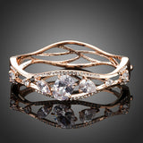 Gold Color Clear Cubic Zirconia Bangle - Arista Gems
