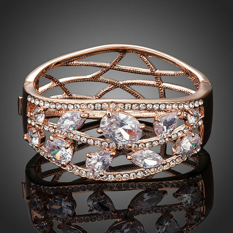 Rose Gold Color Clear Cubic Zirconia Cuff Bangle Bracelet - Arista Gems