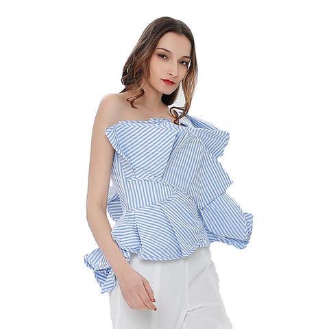 Off Shoulder Striped Ruffle Blouse - seraie