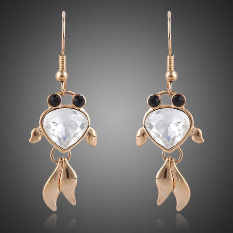 18K Real Gold Plated Austrian Crystal Black Eyes Goldfish Earrings - Arista Gems